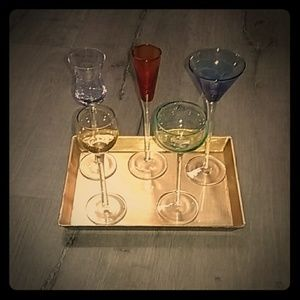 Other - Multi color mini glass cordial set w/gold tray